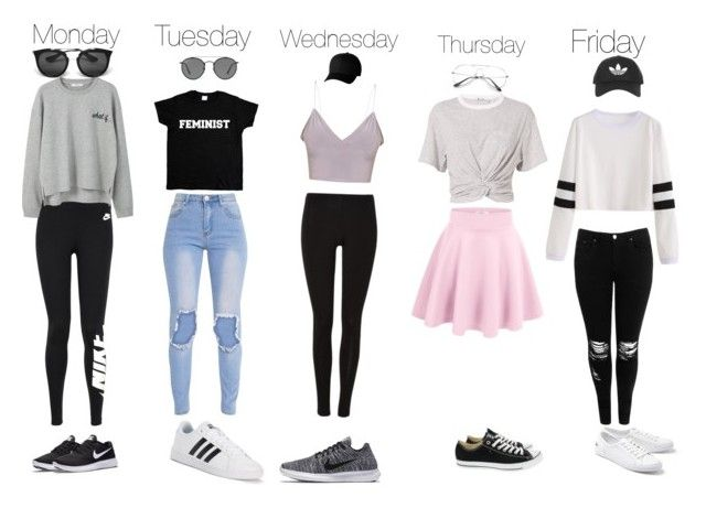 """""""Weekday outfits"""" by audreyclement on Polyvore featuring Boohoo, NIKE, T By Alexander Wang, MANGO, adidas, Converse, Lacoste, Ray-Ban, Flexfit and Prada"""