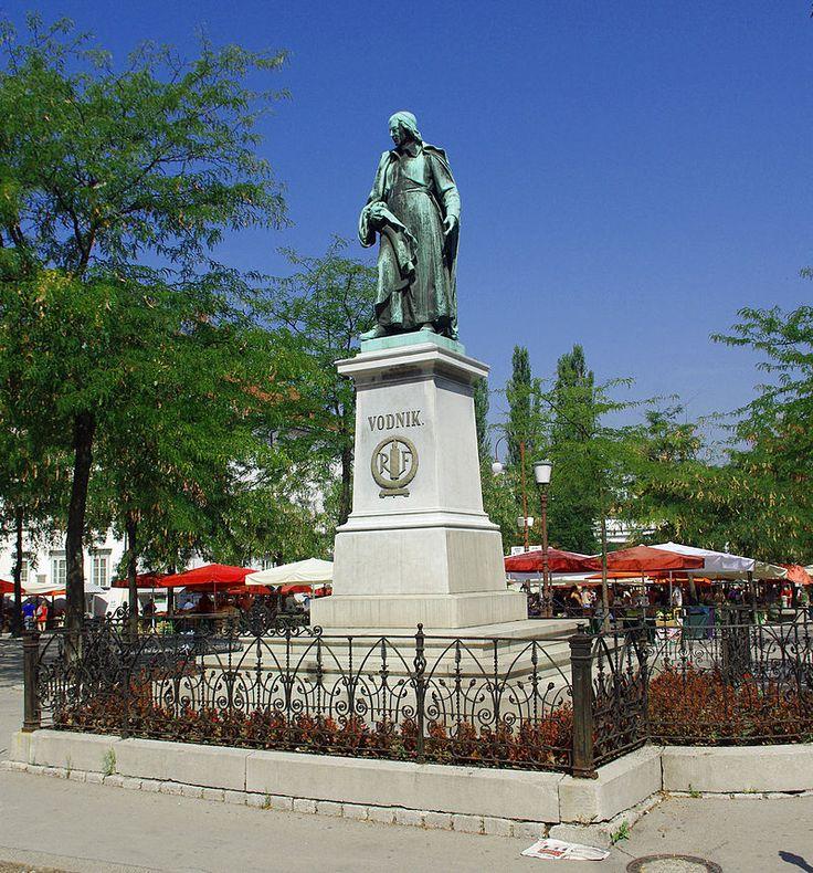 Valentin Vodnik's Statue in Ljubljana at Ljubljana Central Market. #ValentinVodnik #Ljubljana #VisitLjubljana #Slovenia #SloveniaHistory #SloveniaCulture #visitSlovenia #Culture #poet