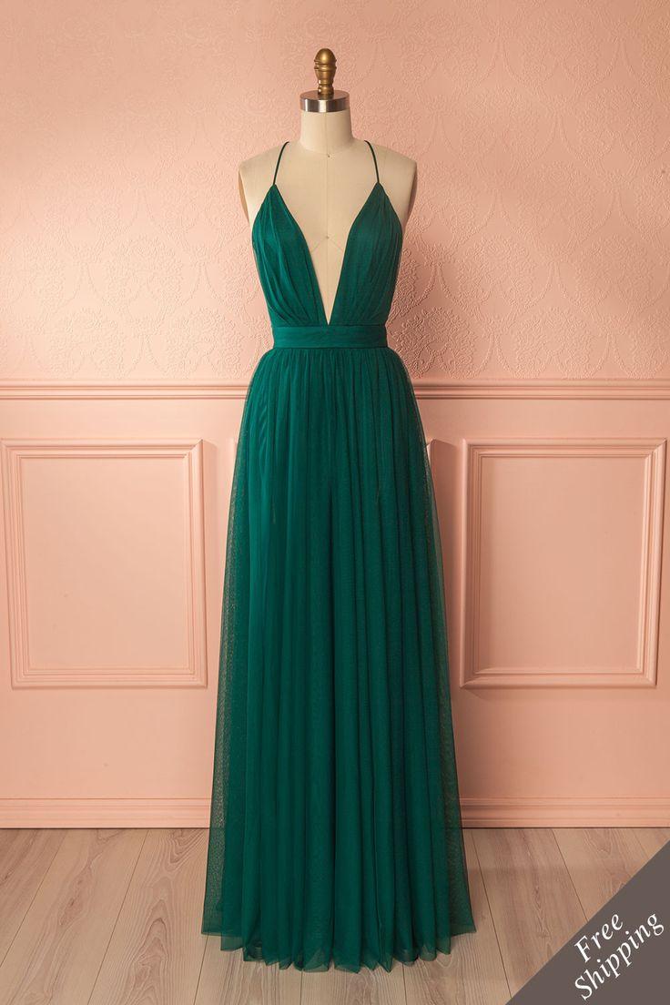 Forest green mesh maxi dress with plunging neckline and open back - Robe en filet vert forêt avec décolleté plongeant et dos ouvert