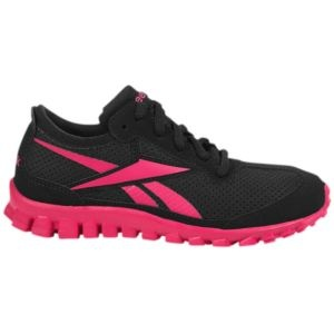 Reebok RealFlex Suede - Little Kids - Running - Shoes - Black/Overtly Pink