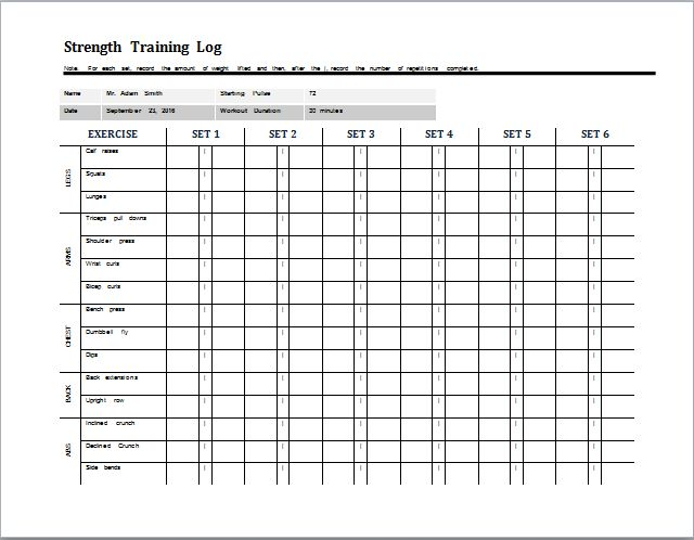 daily strength training log template at word-documents.com ...