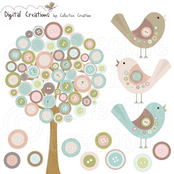 Button Tree and Birds Digital Clip Art Set  by CollectiveCreation, $4.00
