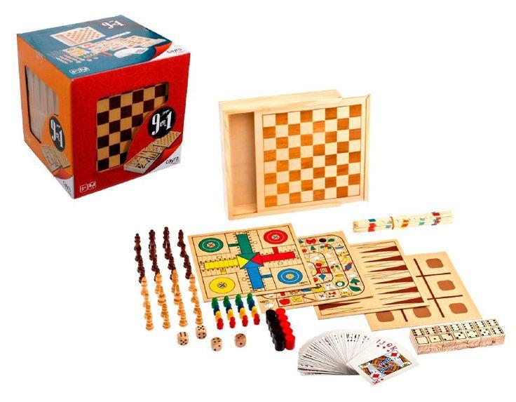 Un juego completo para tardes de entretención, para más de 2 jugadores y niños desde los 8 años, El set incluye 9 juegos:  tablero de damas, gato, ludo,  ajedrez, domino, cartas, palillos chinos, y carrera.