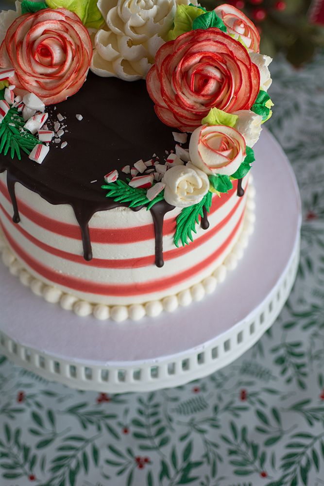 Classic Peppermint Dream-A chocolate drip on a buttercream striped cake is the perfect base for the Festive buttercream flowers