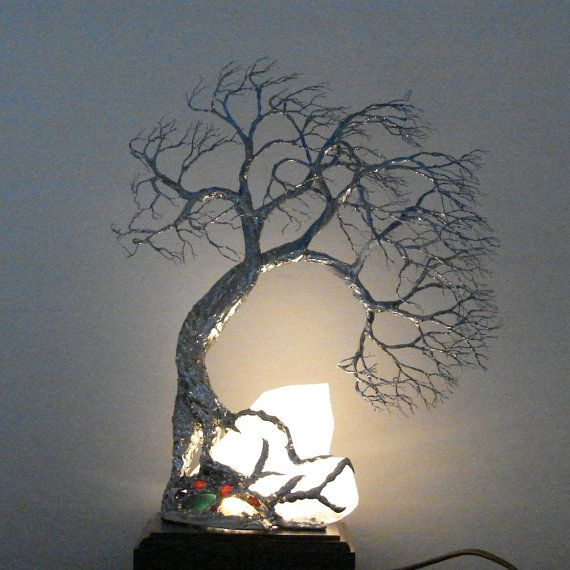 Quartz crystal cluster and wire Tree Of Life lamp