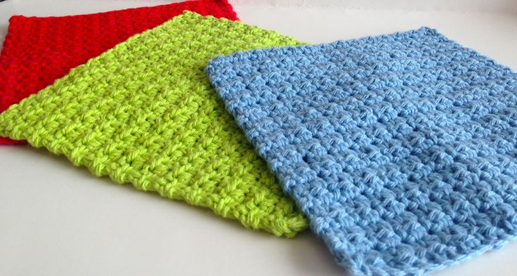 Lot of Three Hand Crocheted Cotton Dishcloths Washcloths, Red, Lime Green, Blue #Handmade