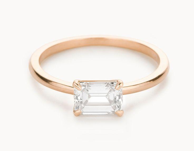 Minimal 18k Rose Gold Emerald Cut Horizontal Setting Diamond Engagement Ring
