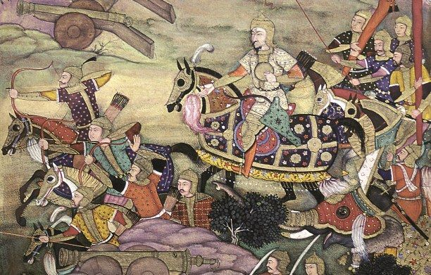 The Islamic Mughal Empire in India, like China, had been one of the most powerful empires prior to the 1700s.   Detail from the first Battle of Panipat, 1526, fought between Babur and Ibrahim Lodi.   AKG Images/National Museum of India, New Delhi.