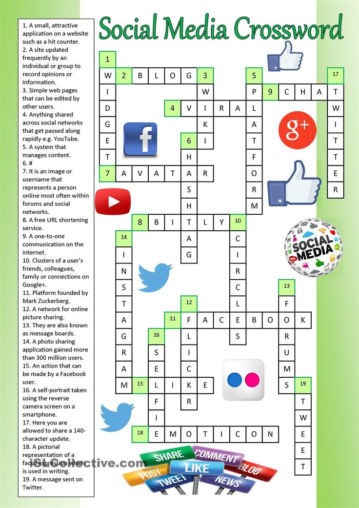 social media crossword key esl worksheets of the day pinterest student centered. Black Bedroom Furniture Sets. Home Design Ideas