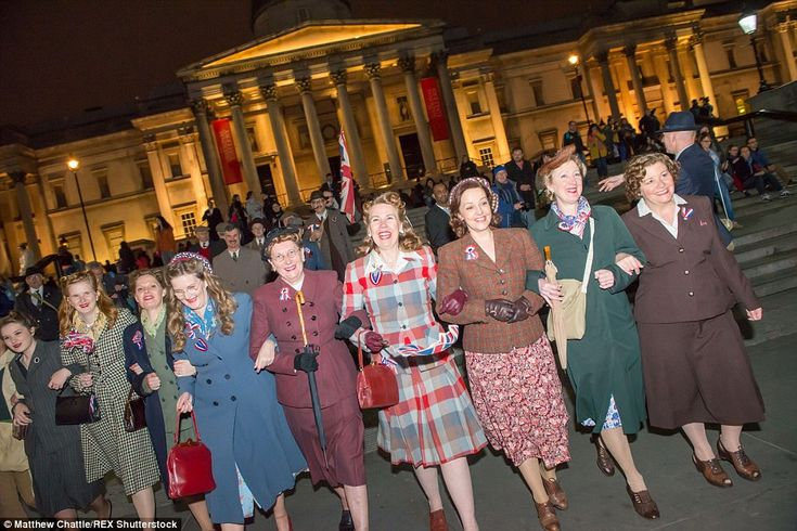 London was transported back to the 1940s as revellers donned period costume to mark the 70...