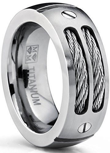 8MM Mens Titanium Ring Wedding Band With Stainless Steel Cables And Screw Design Sizes 7 To