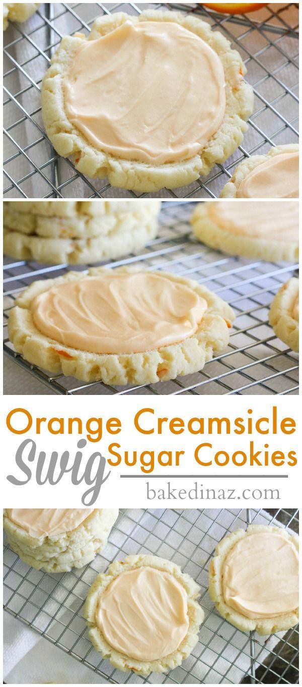 Orange Creamsicle Swig Sugar Cookies with a white chocolate frosting! bakedinaz.com
