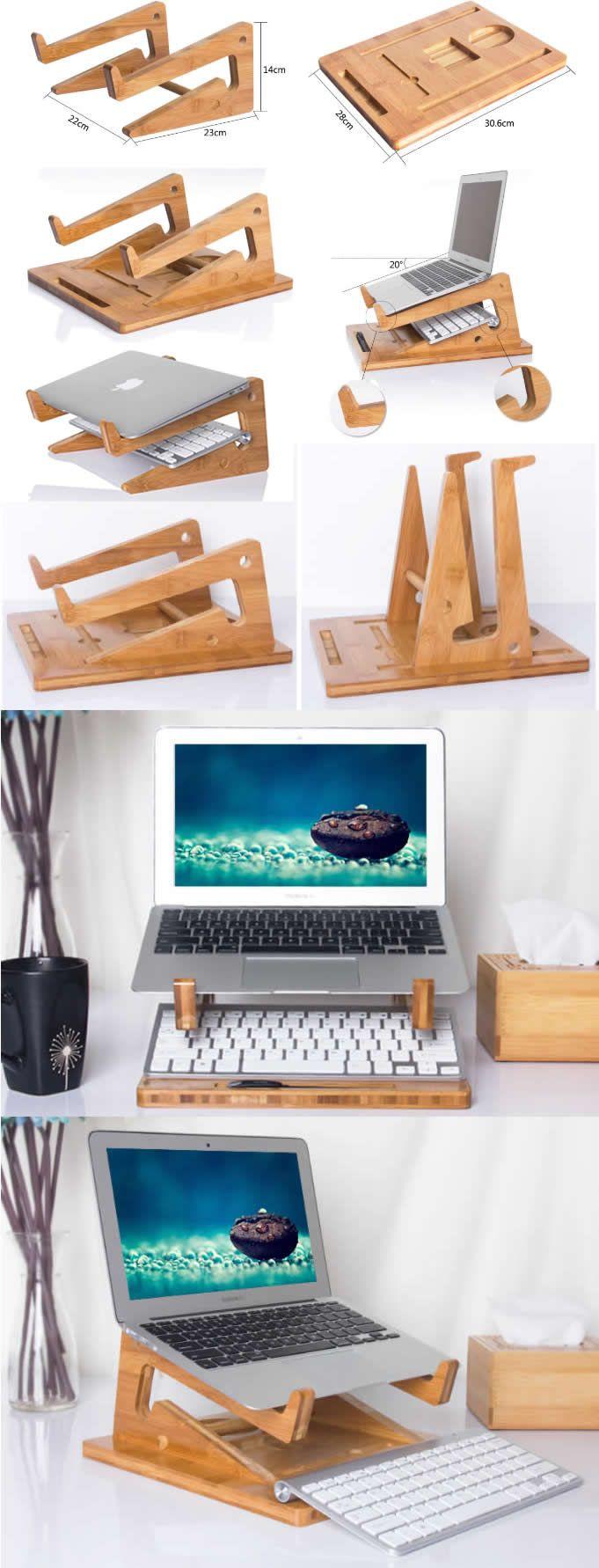 Bamboo Wooden Laptop Macbook Folding Cooling Stand Riser Dock Laptop Desk Desktop Stand Holder Mount Cradle for Laptop Notebook Tablets iPad Macbook Air or Pro