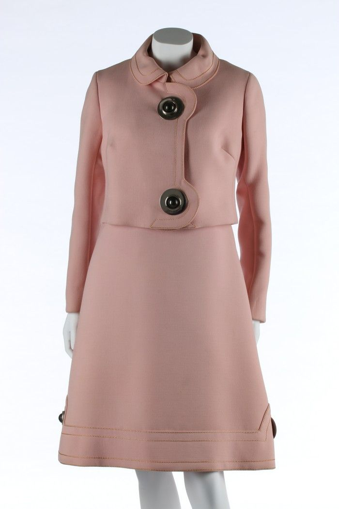 Pierre Cardin for Elizabeth Arden pink wool futuristic cocktail ensemble,  1969.