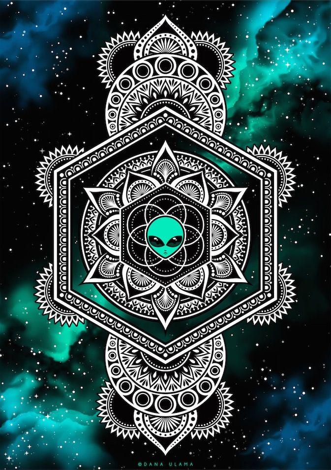 Alien Floweroflife Galaxy Mandala Psychedelic