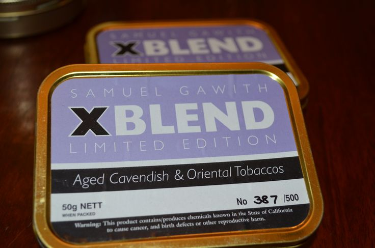 Samuel Gawith - X Blend Limited Edition This very special blend of cavendish tobaccos and orientals is limited to a run of just 500 tins. X blend has been in the making for some years, conceived, blended and tinned long before its release. Tobacco Reviews link http://www.tobaccoreviews.com/blend/2681/samuel-gawith-x-blend-limited-edition