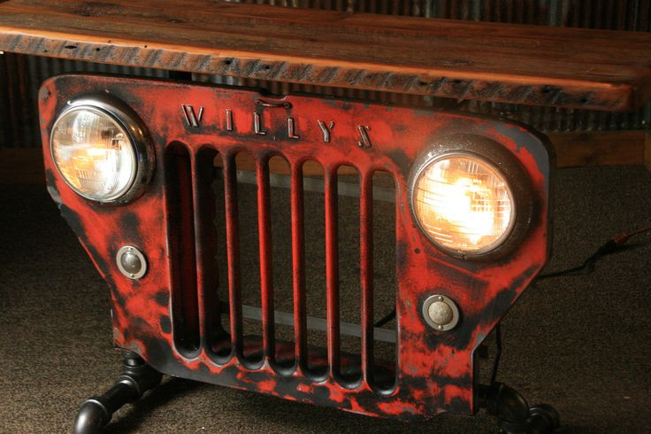 Steampunk Industrial Jeep Willys Grill Table, Stand or Console #886