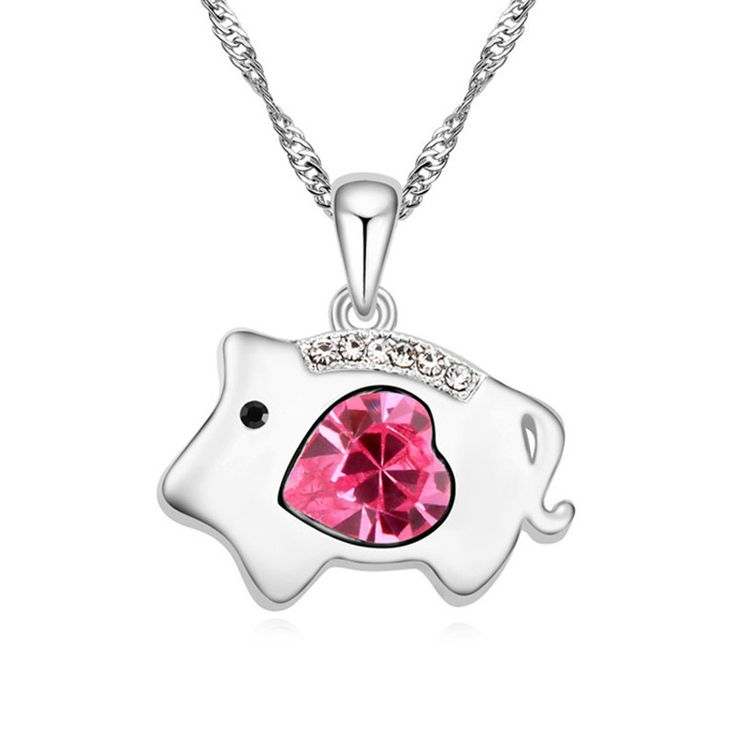 Heart Crystal from Swarovski Chinese Zodiac Series Pig Pendant Necklace for Women Made with Swarovski Element Girl Jewellery HOT //Price: $12.95 & FREE Shipping //     #hashtag4