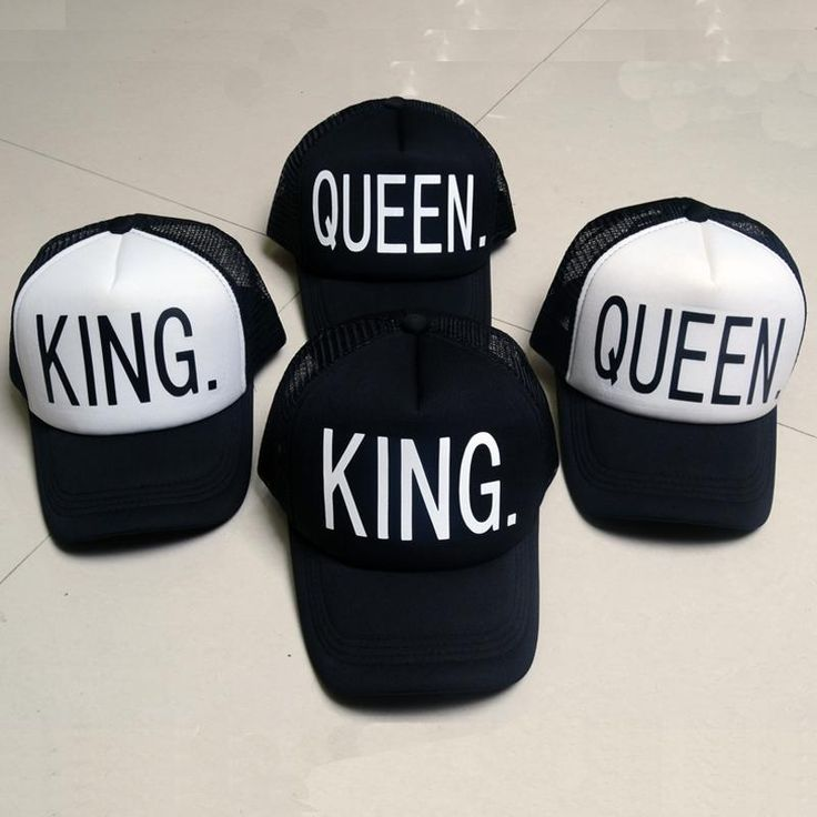 [Visit to Buy] KING QUEEN Baseball Cap Print Men Women Polyester Mesh Summer Visor Snapback Caps White Black Couple Lover Hip Hop Sport Hats #Advertisement