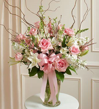 Pink And White Flower Arrangements | Day Flower Delivery Pink and White Large Sympathy Vase Arrangement ...