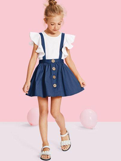 7368145c327b Girls Button Up Pinafore Skirt -SheIn(Sheinside)