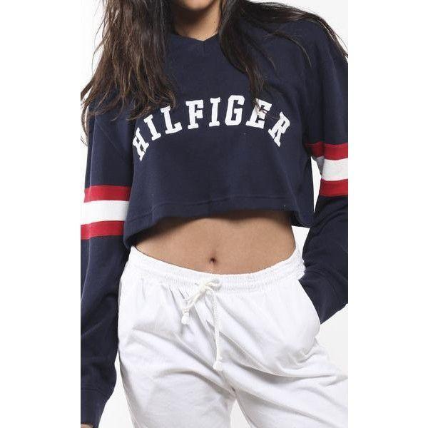 Vintage Tommy Hilfiger Crop Sweatshirt ($50) ❤ liked on Polyvore featuring tops, hoodies, sweatshirts, cropped sweatshirt, vintage sweatshirts, vintage crop top, vintage tops and cropped tops