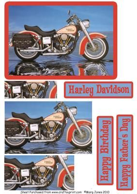 Harley Davidson Easy Pyramid on Craftsuprint designed by Margaret Jones - Make this easy pyramid card for your man's birthday, or for Father's Day, or just because he loves Harleys! - Now available for download!