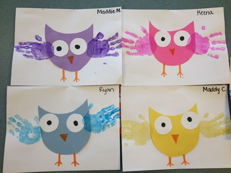 Simple owl craft using construction paper and painted palms.