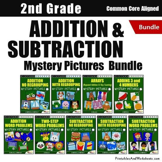 2nd Grade Addition and Subtraction Mystery Picture Coloring Worksheets - Printables & Worksheets