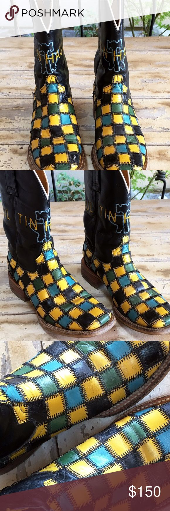 Tin Haul cowboy boots Women's Tin Haul square toe boots! Green and yellow check,Worn a few times, great condition size 6.5 Tin Haul Shoes Winter & Rain Boots