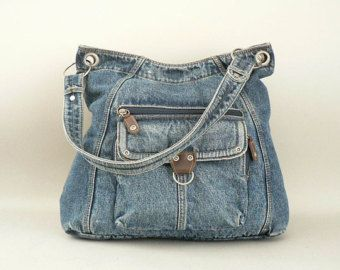 Vintage Large Denim Shoulder Bag Blue Jean Purse, recycle, upcycle, denim, jeans, beauty, crafting idea, pocket,