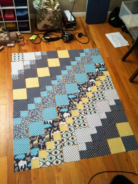 "Baby Elephant Walk quilt, a mixture of 5"" squares and four patches, large and small scale prints"