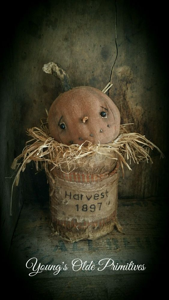 **Primitive JOL Pumpkin in Can Shelf Sitter Fall Halloween** #NaivePrimitive