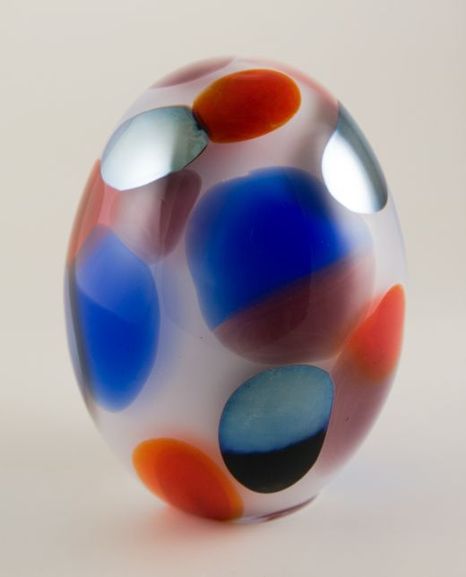 Huge Jeweled Kiwi glass art egg -- Oiva Toikka
