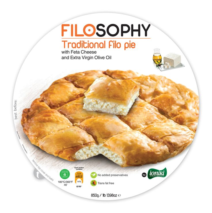 Traditional filo pie with Feta Cheese and Extra Virgin Olive Oil