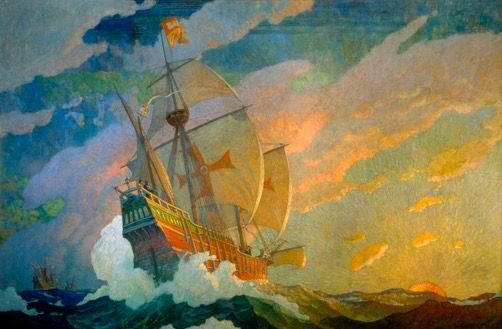 Beyond Uncharted Seas Columbus Finds a New World 1927 Oil on canvas, 104 x 153 in. (264.1 x 388.6 cm) National Geographic Society  Mural decoration, Hubbard Hall, National Geographic Society, Washington, DC