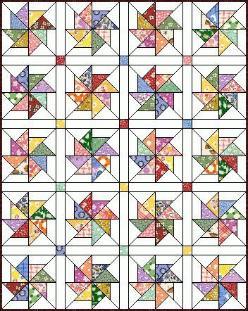 Pinwheel. Free pattern by Marcia Cohn.