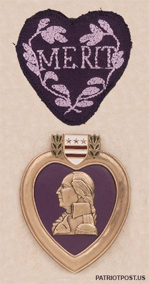 The Purple Heart - awarded to those who defend Freedom. The original design of George Washington's Badge of Military Merit (1782) and today's Purple Heart military award.