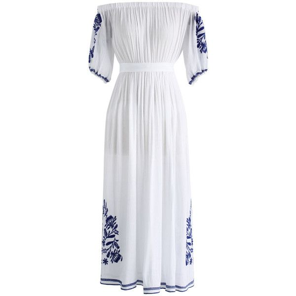 Chicwish Boho Nymph Off-shoulder Maxi Dress in White (165 BRL) ❤ liked on Polyvore featuring dresses, white, off the shoulder boho dress, boho maxi dress, white maxi dress, white off shoulder dress and boho dresses