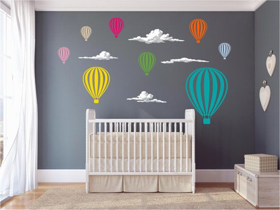 Hot Air Balloons And Clouds Nursery Vinyl Wall Art by AbakDesign