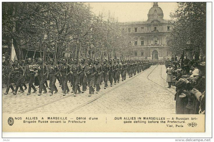 Guerre 1914-1918 - Nos Alliés à Marseille - Défilé d'une Brigade Russe devant la Prefecture