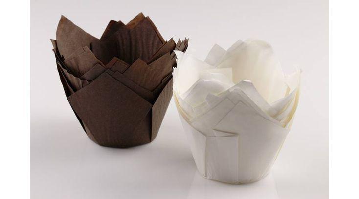 Tulipán alakú fehér-barna elegáns muffin papír nagy méretű 24 db - Süss Velem.com