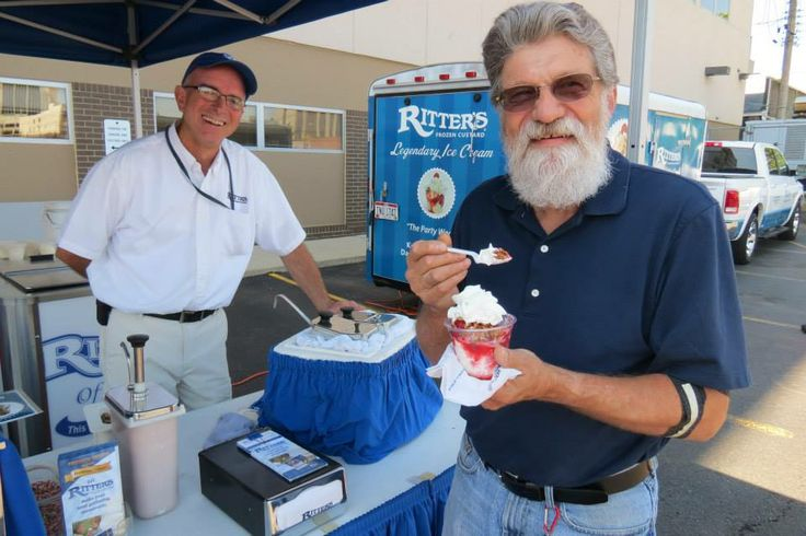 Ritter's Franchise Owner Don Heyne with Bill. Ritter's Frozen Custard - Kettering, Ohio at Community Blood Center.