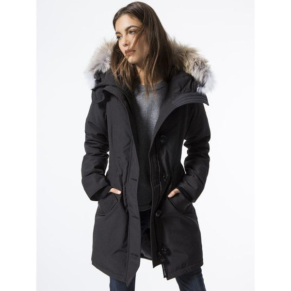 CANADA GOOSE Rossclair Parka ($925) ❤ liked on Polyvore featuring outerwear, coats, fur trim parka coat, army green parkas, parka coats, army green parka coat and zipper coat