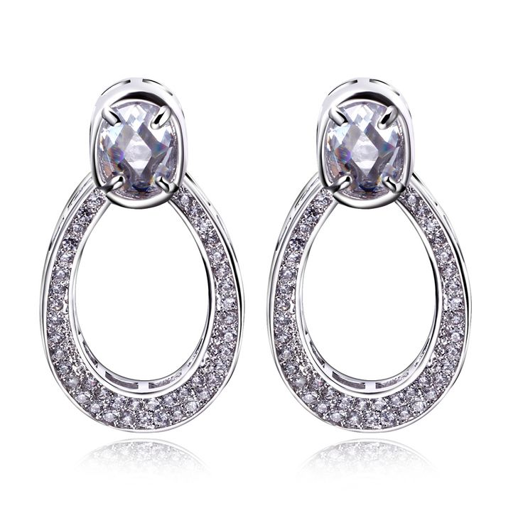 Find More Drop Earrings Information about Trendy water drop earrings for women white gold plated setting AAA cubic zirconia stone big earring for wedding party Jewelry  ,High Quality Drop Earrings from HY Fashion Jewelry on Aliexpress.com