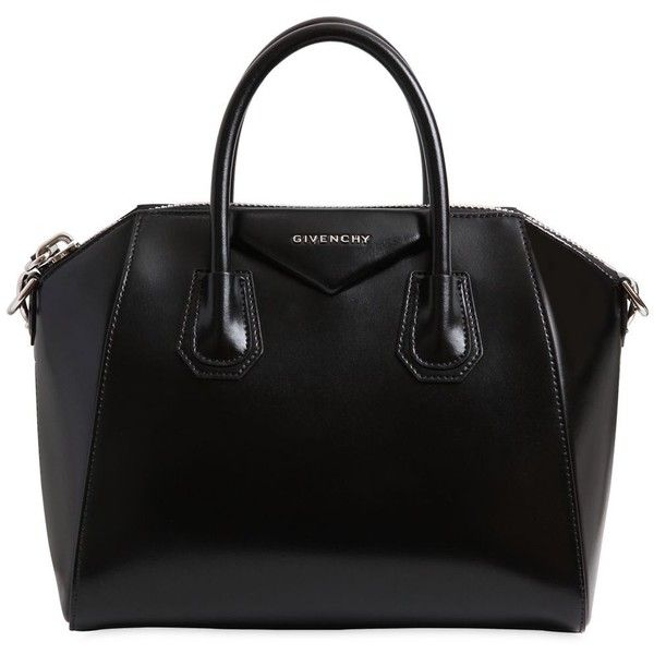 Givenchy Women Small Antigona Polished Leather Bag ($2,545) ❤ liked on Polyvore featuring bags, handbags, black, logo bags, leather handbags, leather purses, genuine leather bags and givenchy purse