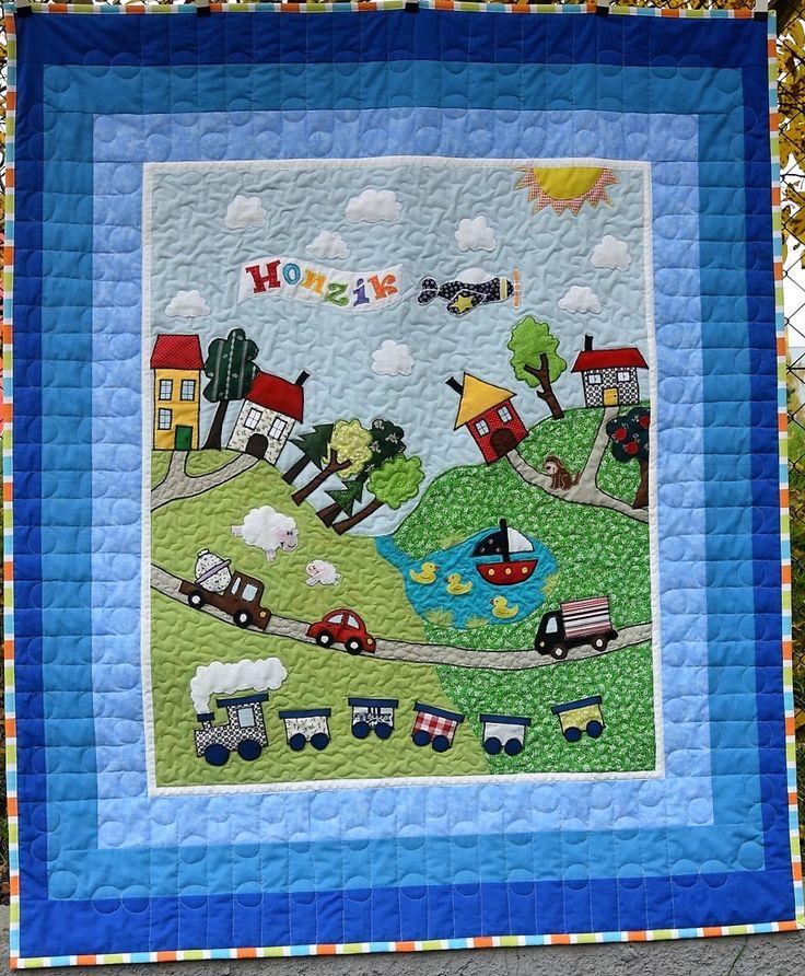 Pro Honzíka, opět ve spolupráci s Alenkou. Patchwork, baby blanket, quilt, means of transport.