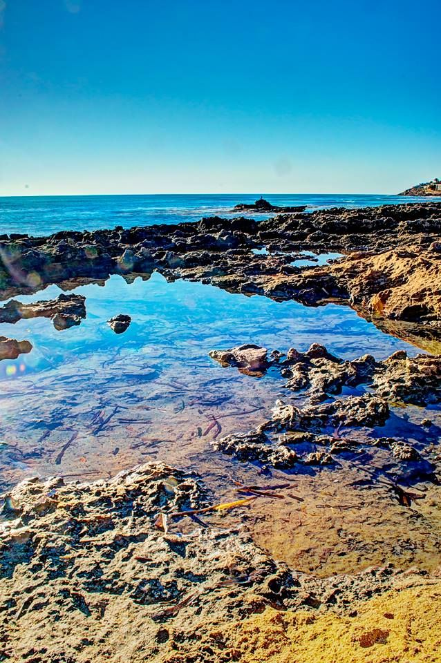 The rock pool on the little island.