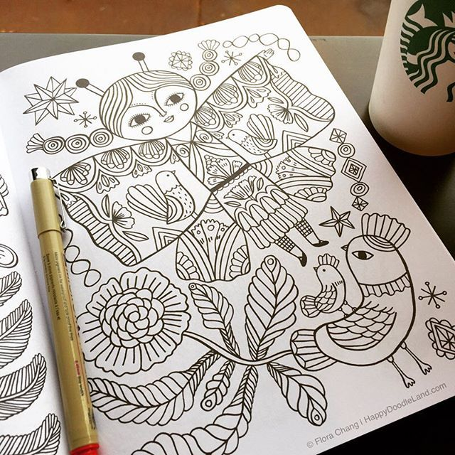 Happy Doodles Coloring Book By Flora Chang
