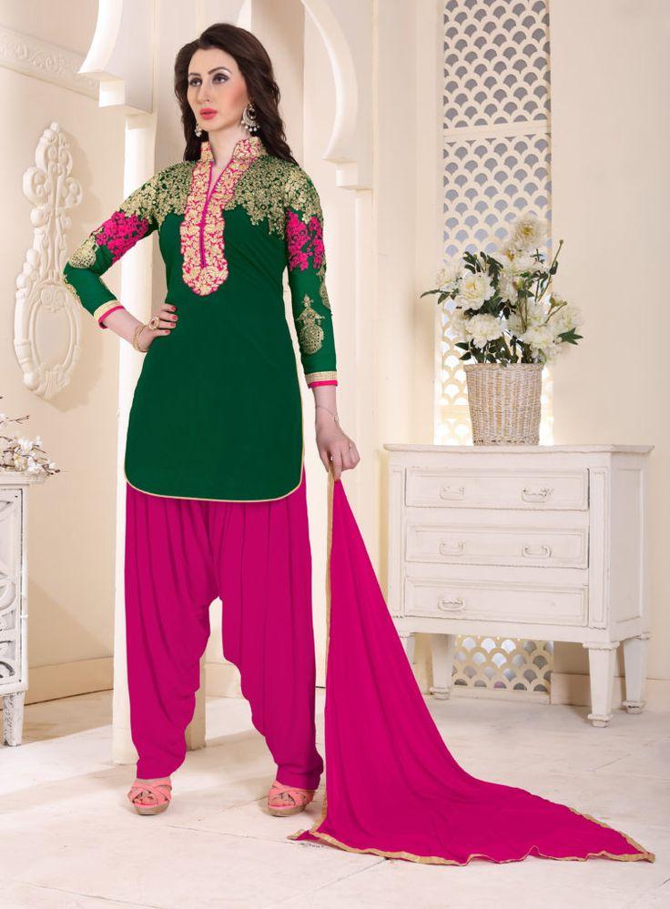 Green Color Georgette Patiala Salwar Suits - ClickOnBazar #onlinepatiala #designerpatialasalwar #patialasalwarsuits #designerpatialasalwar #clickonbazaarpatialasuits